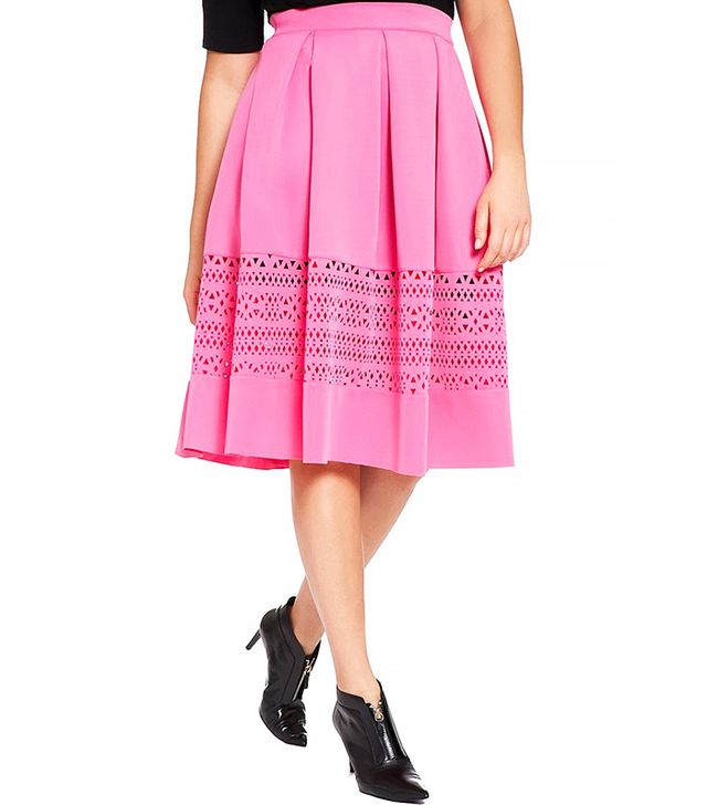 ELOQUII Laser Cut Pleat Midi Skirt