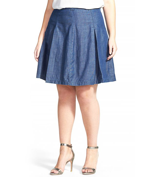 Halogen Pleat Denim Skirt
