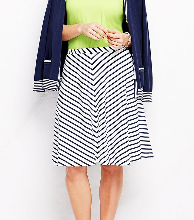 Land's End Knit A-Line Skirt Chevron Stripe
