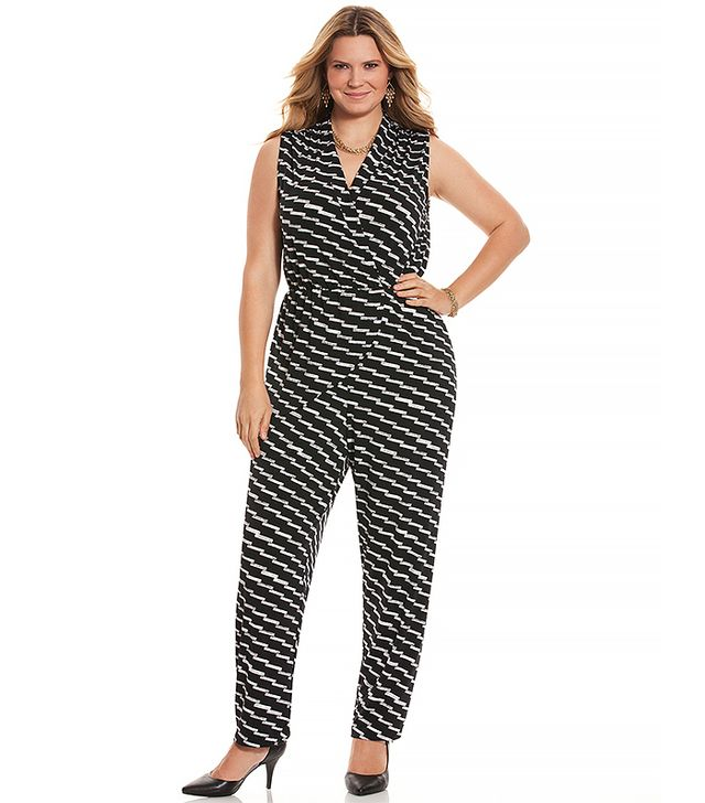 Lane Bryant Simply Chic Printed Draped Jumpsuit