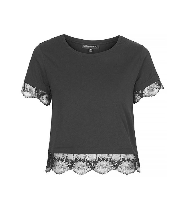 Topshop Petite Exclusive Lace Trim Top