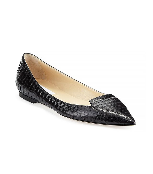 Jimmy Choo Attila Snakeskin Point-Toe Flats
