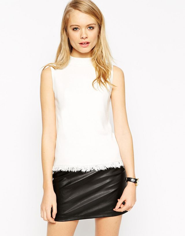 ASOS Tank In Structured Knit With Fringing