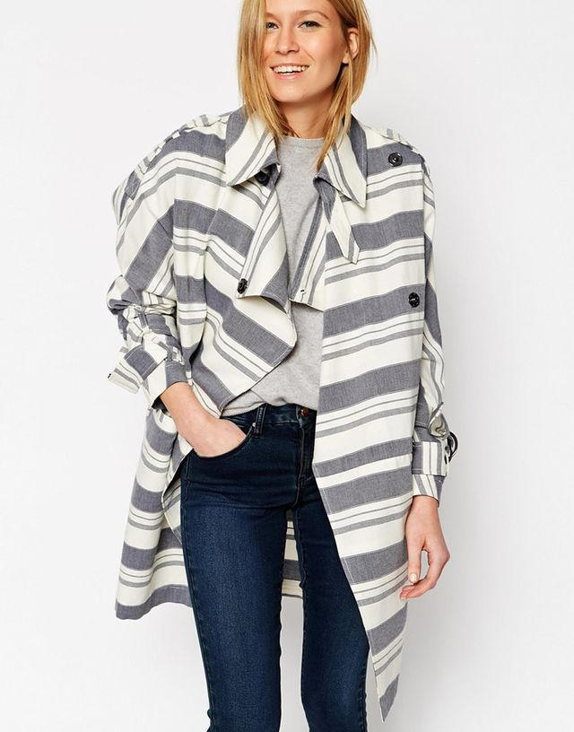 ASOS Trench In Cocoon Fit With Utility Stripe