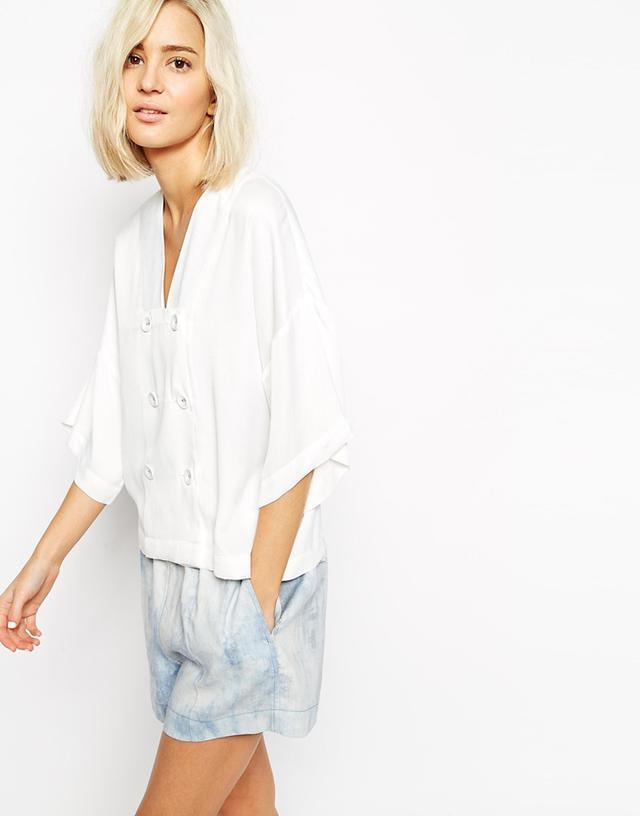 ASOS White Silk Blend Kimono Top