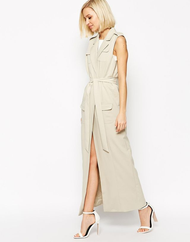 Lavish Alice Sleeveless Belted Maxi Trench Coat
