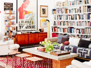 Get the Look: An Eclectic and Layered Library Living Room