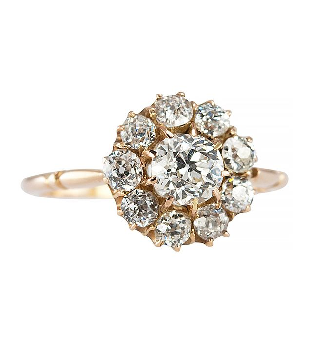 Craig Evan Small Victorian Diamond Gold Cluster Ring