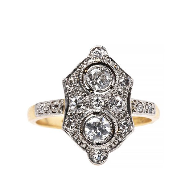 Trumpet & Horn Exceptional Edwardian Diamond Gold Platinum Navette Engagement Ring