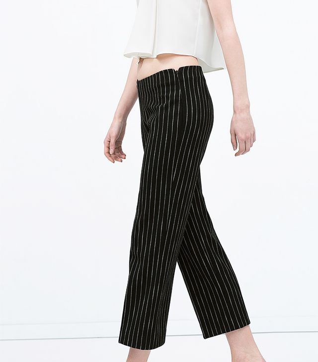 Zara High Waisted Pinstripe Trousers