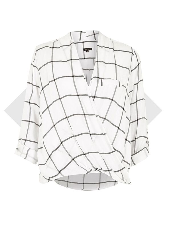 River Island White Check Twist Wrap Blouse