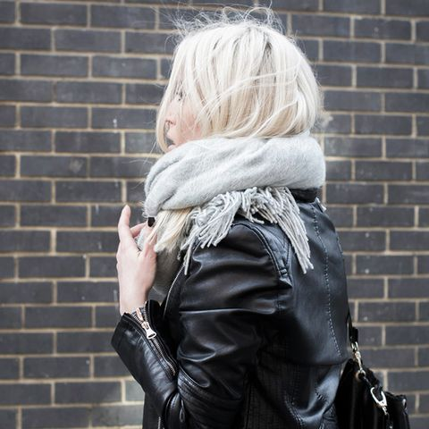 Gray scarf and leather jacket