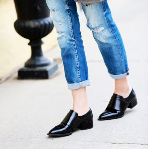 Jeans and patent pointed loafers