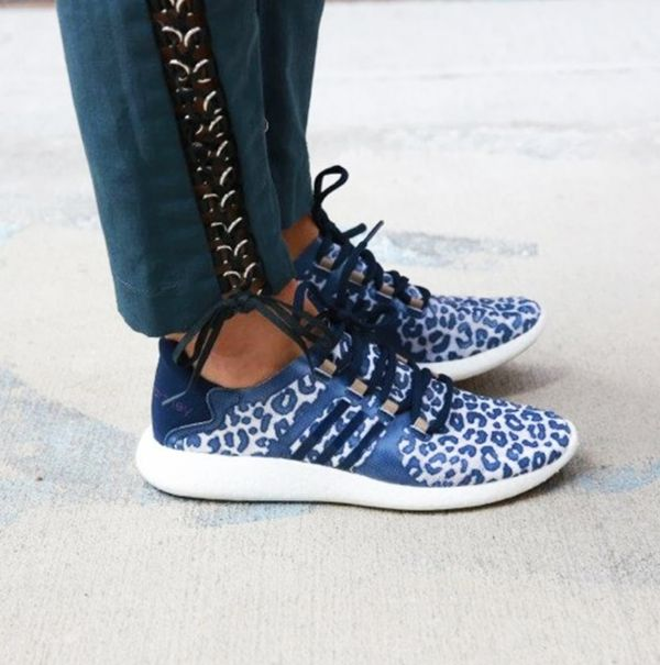 Lace-up ankle pants and leopard print adidas sneakers