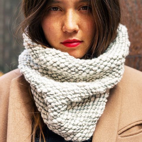Chunky knit infinity scarf with camel coat
