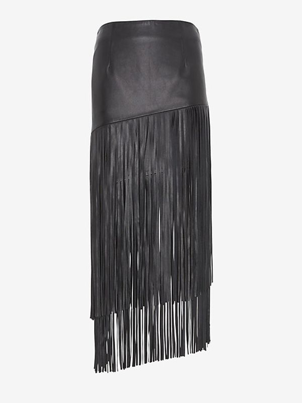 Intermix Leather Fringe Skirt