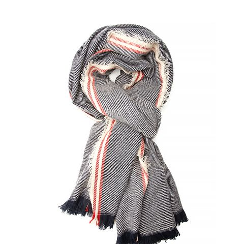 Striped & Frayed Scarf