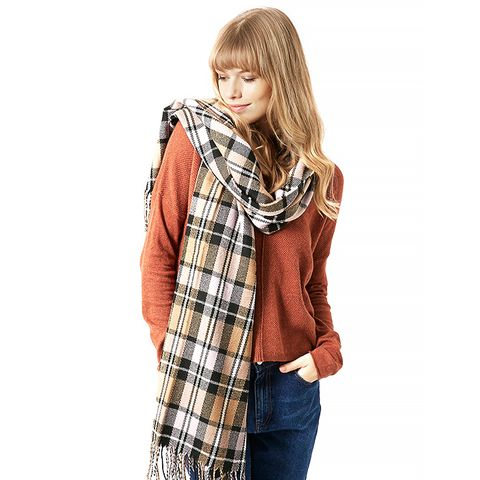 Soft Check Blanket Scarf