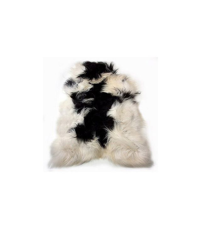 FurThrows Black and White Sheepskin Rug