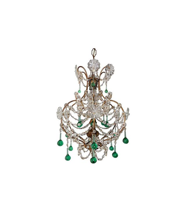 Vintage 1930s 1930s French Sea Foam Green Crystal Wood Chandelier