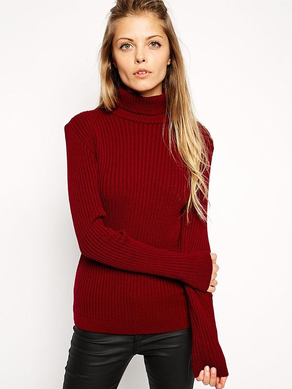 ASOS Sweater in Rib with High Neck
