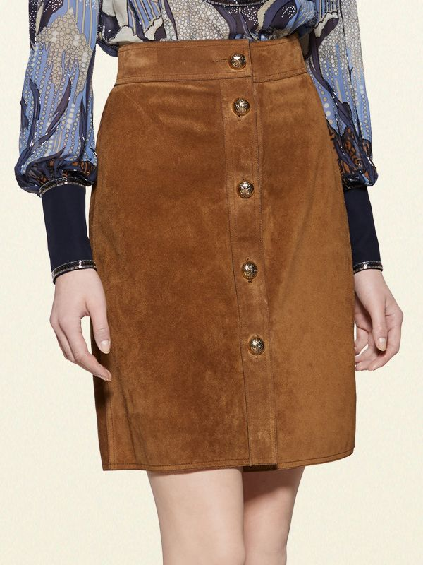 Gucci Suede Button-Front Skirt