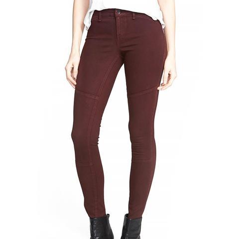 'Monroe' Twill Skinny Jeans in Oxblood Red