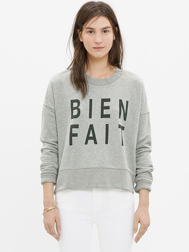 Madewell Bien Fait Side-Zip Sweatshirt