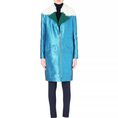 Shearling-Collar Glitter Coat