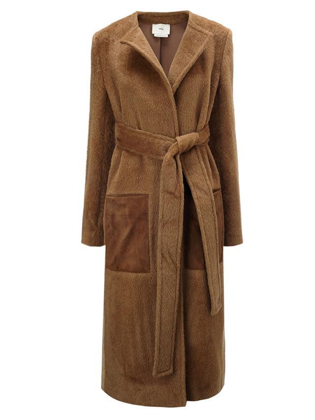 Edun Camel Alpaca Suede Pocket Coat
