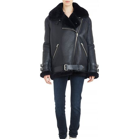Shearling-Lined Leather Velocite Oversize Moto Jacket