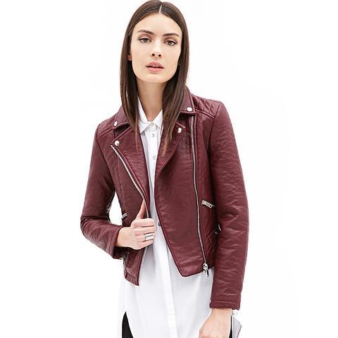 Zippered Faux Leather Moto Jacket