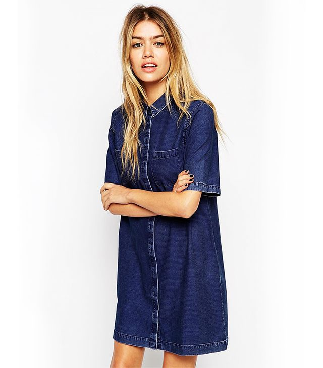 ASOS Denim Shirt Dress with Patch Pocket