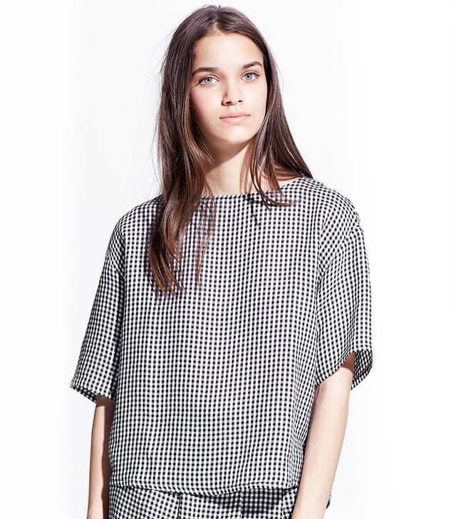 MANGO Gingham Check Blouse