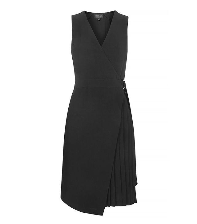 Topshop Pleated Wrap Midi Dress