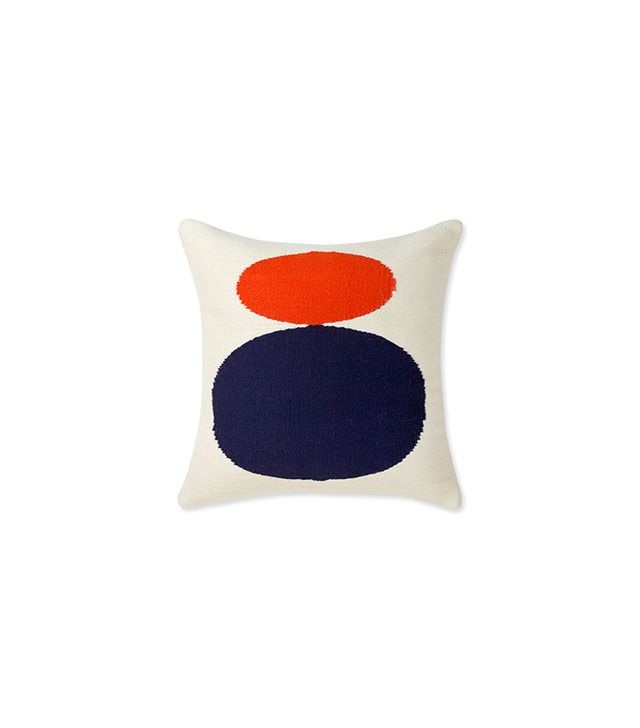 Jonathan Adler Reversible Navy And Red Orange Mother Child Pop Throw Pillow