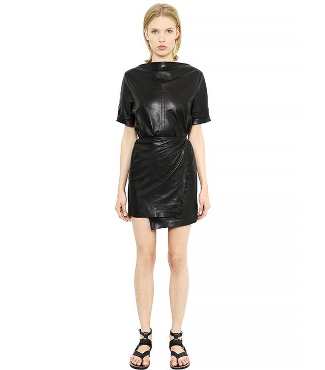 Isabel Marant Nappa Leather Wrap Dress