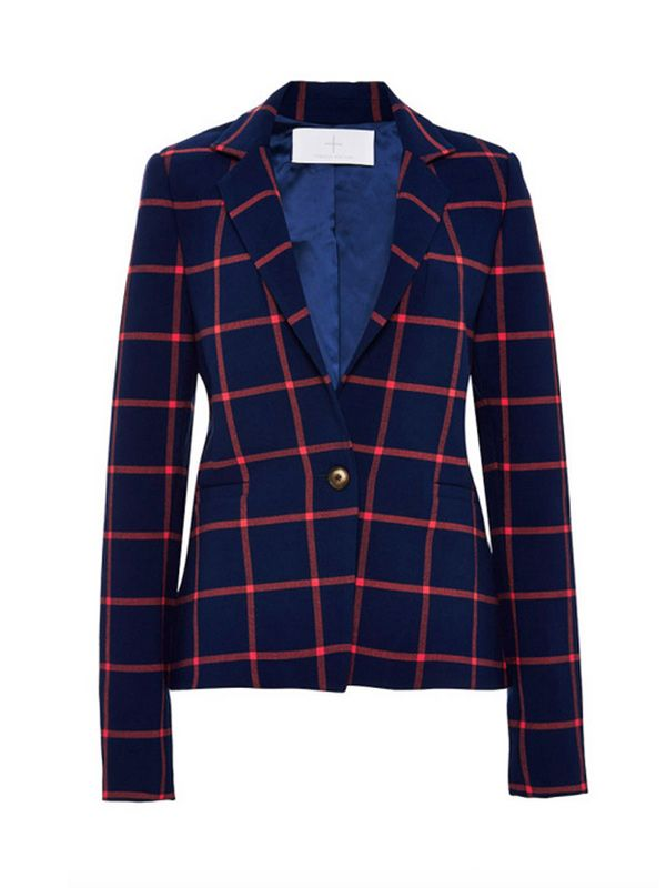 Thakoon Addition Checked Wrap-Back Blazer