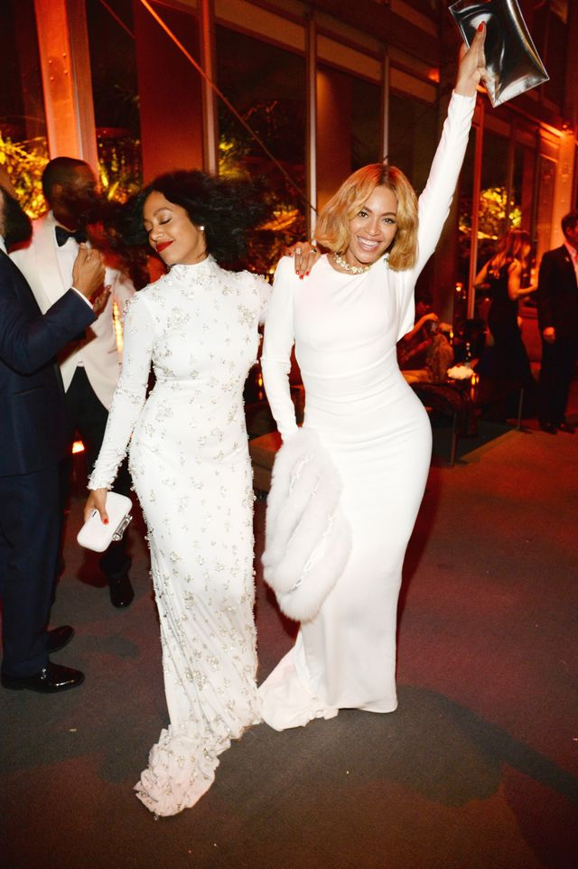 So Cute: Beyoncé and Solange Wear Matching Dresses to Oscars Party