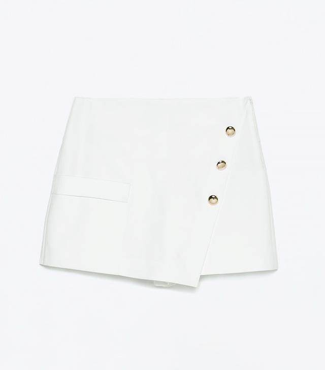 Zara Gold Button Wrap Skirt