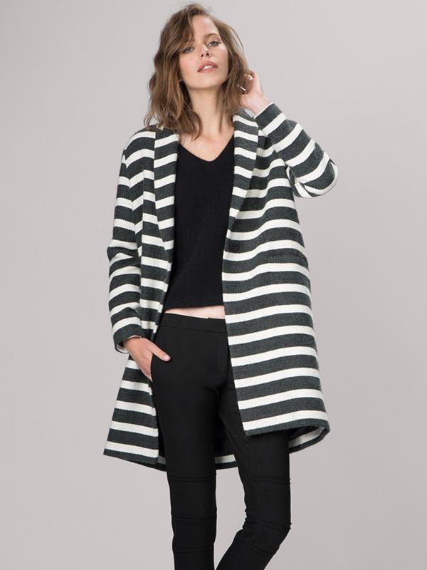 Maje Goelette Striped Wool Coat