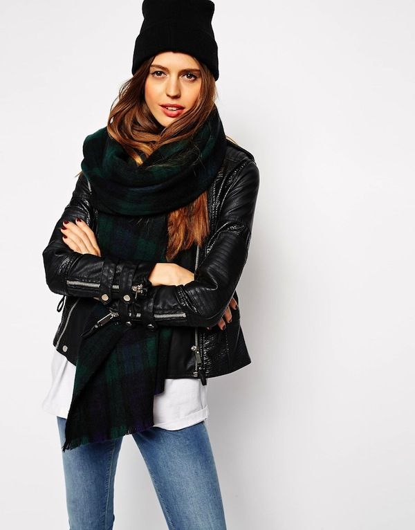 ASOS Oversized Scarf In Green Plaid Check