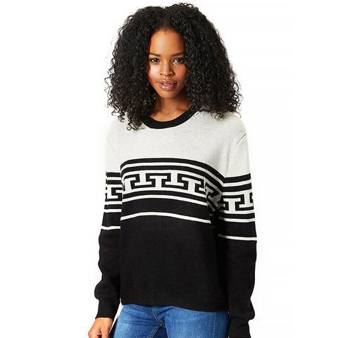 Monochrome Pattern Crewneck Sweater