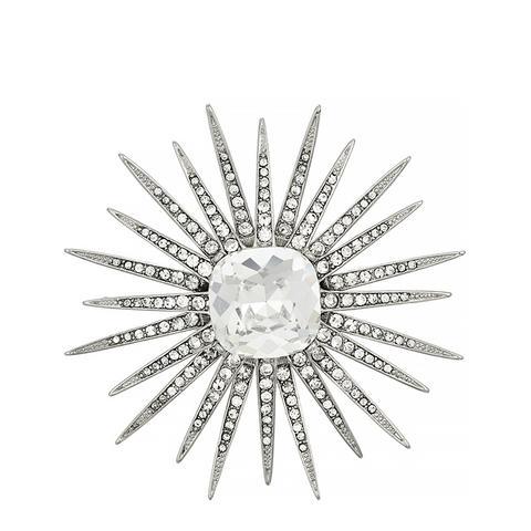 Rhodium-Tone Crystal Brooch