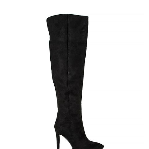 Kate Faux Suede Knee High Heeled Boots