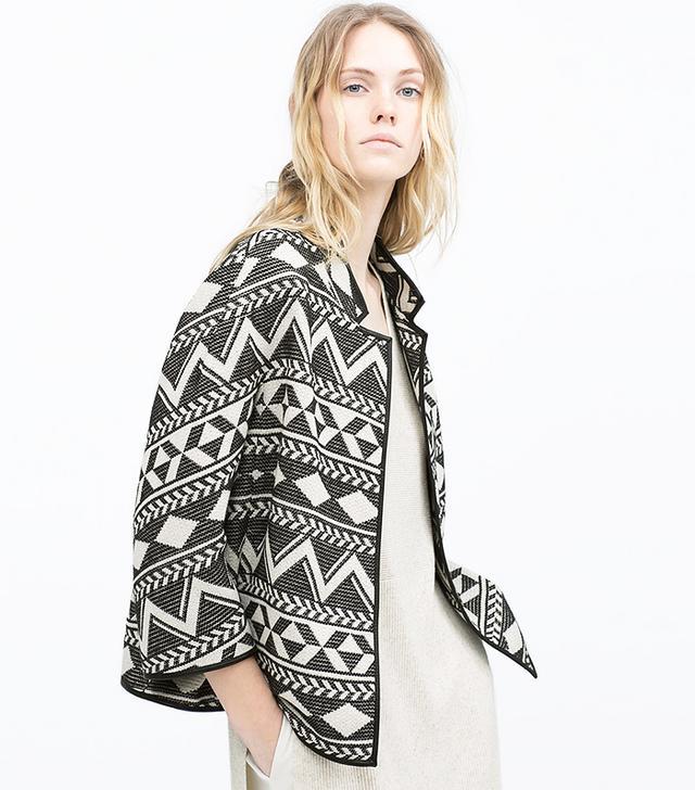 Zara Piped Jacquard Jacket