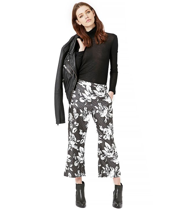 Topshop Geo-Rose Print Slim Flares by Boutique