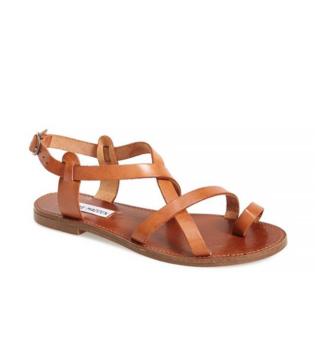 Steve Madden 'Agathist' Leather Ankle Strap Sandal in Cognac