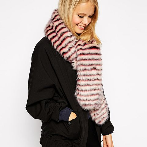 Faux Fur Scarf With White Stripe