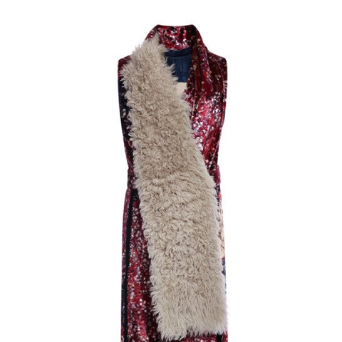 Tapestry Velvet Gilet With Faux Fur Scarf